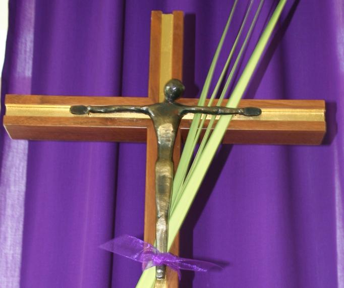crucifex and palm