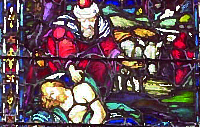 good samaritan stained glass from sacred heart charlotte grandfather cropped for web